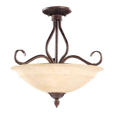 Tyler 3-Light Sunset Bronze Semi-Flush Mount Light