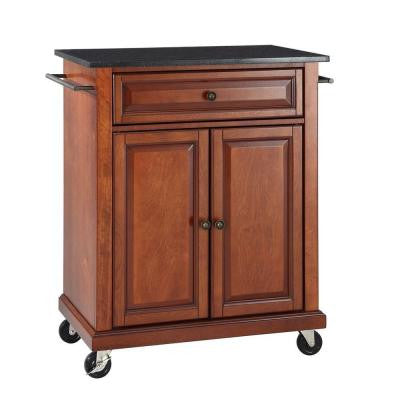 28-1/4 in. W Solid Black Granite Portable Kitchen Island Cart in Cherry
