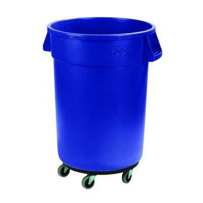 Bronco 44 Gal. Blue Round Trash Can with Dolly (3-Pack)