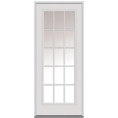 34 in. x 80 in. Classic Clear Glass 15 Lite Primed White Steel Replacement Prehung Front Door
