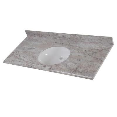 49 in. Stone Effects Vanity Top in Winter Mist with White Basin