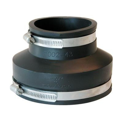 4 in. Clay x 3 in. DWV Flexible PVC Coupling