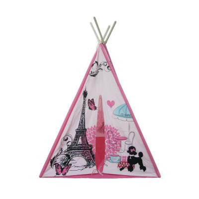 61 in. 4 Wall Teepee Tent with Paris Pattern