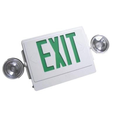 Remote Capable White with Green Letters Thermoplastic 120/277 LED Emergency Exit Sign with Dual Emergency Light