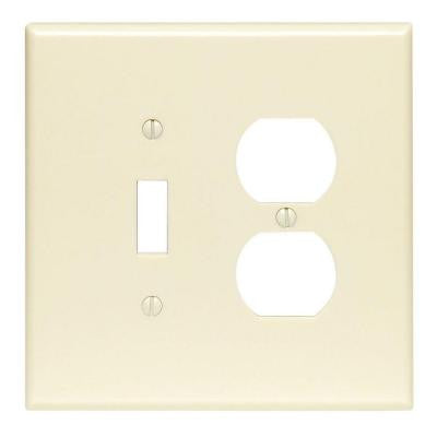 2-Gang 1 Toggle 1 Duplex Combination Wall Plate - Ivory