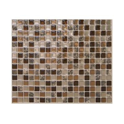 9.64 in. x 11.55 in. Peel and Stick Backsplash Decorative Wall Tile Minimo Roca in Bronze and Brown Marble