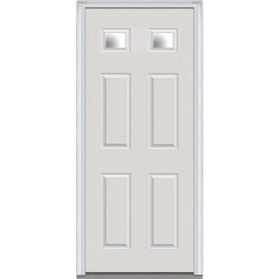 36 in. x 80 in. Classic Clear Glass 2 Lite 4-Panel Primed White Fiberglass Smooth Prehung Front Door