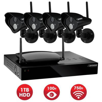 Connected Pro Wireless 4-Channel Surveillance System with 1TB Hard drive and 4 Wireless 520 TVL Cameras