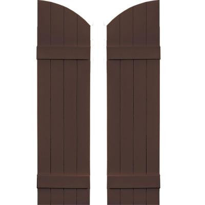 14 in. x 49 in. Board-N-Batten Shutters Pair, 4 Boards Joined with Arch Top #009 Federal Brown