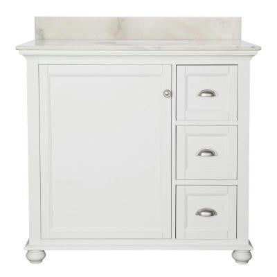 Lamport 37 in. Vanity in White with Marble Vanity Top in White