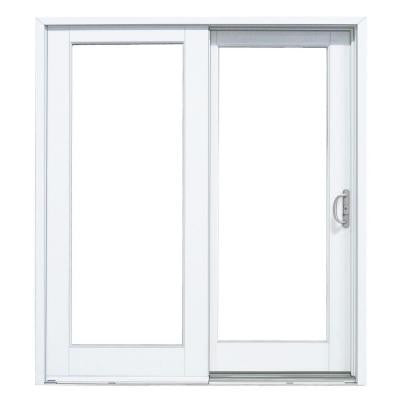 59-1/4 in. x 79-1/2 in. Composite White Right-Hand Woodgrain Interior DP50 Sliding Patio Door