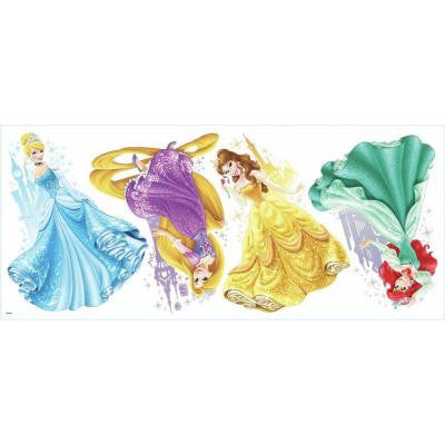 2.5 in. x 21 in. Disney Princesses and Castles Peel and Stick Giant Wall Decal (4-Piece)