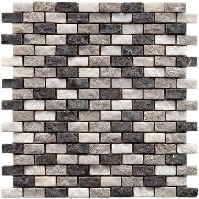 Griselda Subway Charcoal 11-1/2 in. x 12 in. x 9 mm Natural Stone Mosaic Wall Tile