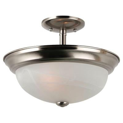 Windgate 2-Light Brushed Nickel Semi Flush Mount