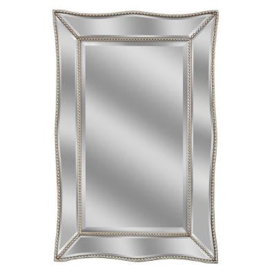36 in. L x 24 in. W Scalloped Metro Beaded Single Mirror in Silver