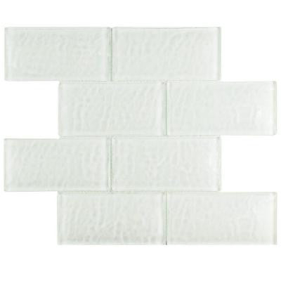 Igloo Convex Subway Glacier White 11-5/8 in. x 11-7/8 in. x 12 mm Glass Mosaic Tile