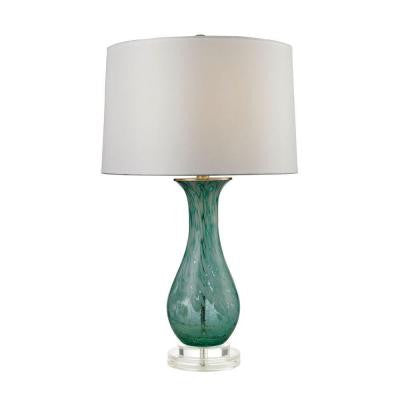 Aqua Swirl 27 in. Aqua Swirl Table Lamp with Shade