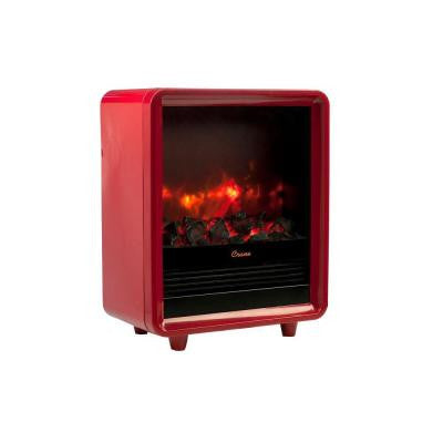 1500-Watt Mini Fireplace Radiant Electric Portable Heater - Red