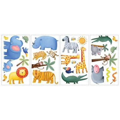 10 in. x 18 in. Jungle Adventure 29-Piece Peel and Stick Wall Decals