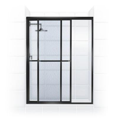 Paragon Series 58 in. x 66 in. Framed Sliding Shower Door with Towel Bar in Oil Rubbed Bronze and Obscure Glass
