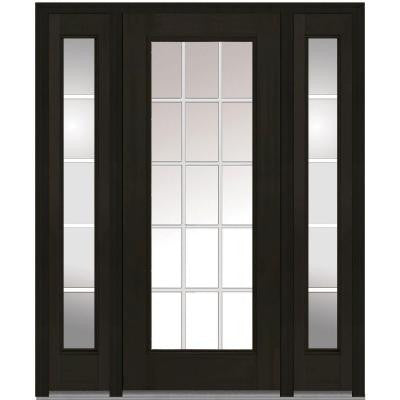 64 in. x 80 in. Classic Clear Glass GBG Full Lite Finished Mahogany Fiberglass Prehung Front Door with Sidelites