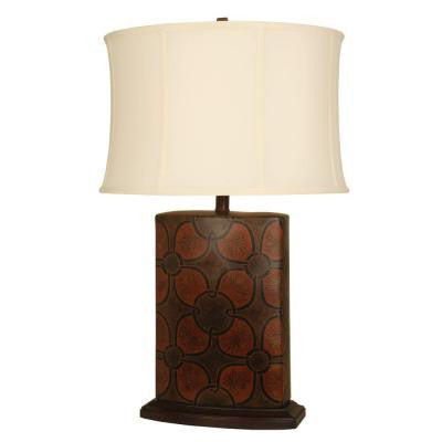 28 in. Flower Power Brown and Orange Table Lamp