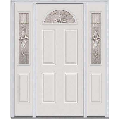 64 in. x 80 in. Heirloom Master Decorative Glass 1/4 Lite Painted Fiberglass Smooth Prehung Front Door with Sidelites