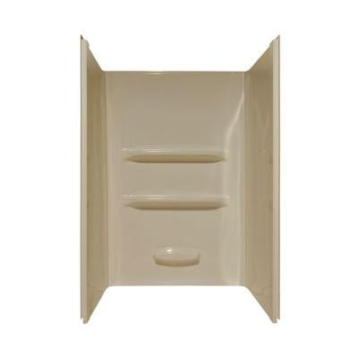 Elite 34 in. x 48 in. x 69 in. 3-Piece Direct-to-Stud Shower Wall Kit in Almond