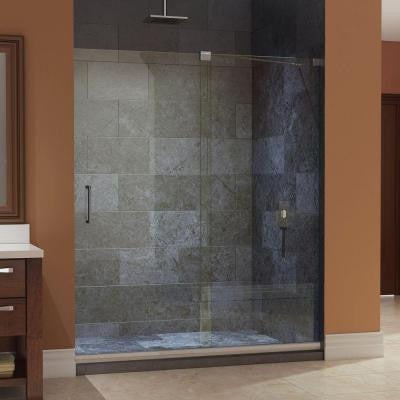 Mirage 60 in. x 74-3/4 in. Frameless Sliding Shower Door in Brushed Nickel with Center Drain Base