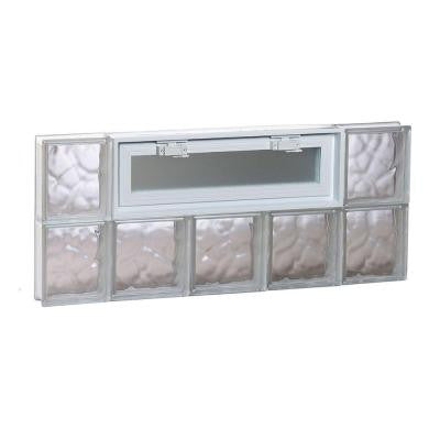 34.75 in. x 15.5 in. x 3.125 in. Wave Pattern Vented Glass Block Window
