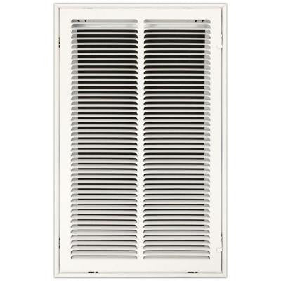14 in. x 24 in. Return Air Vent Filter Grille with Fixed Blades, White