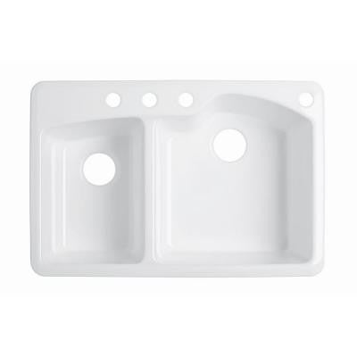 Wheatland Top-Mount Cast-Iron 33 in. 4-Hole Double Bowl Kitchen Sink in White