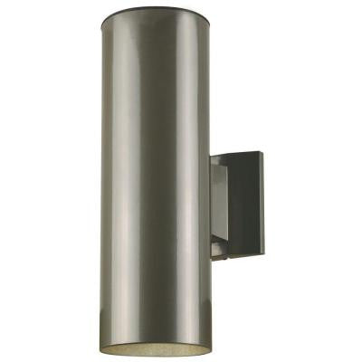 2-Light Polished Graphite Finish on Steel Cylinder Outdoor Wall Fixture