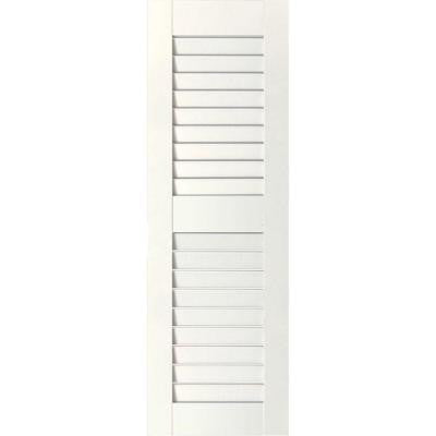 12 in. x 42 in. Exterior Real Wood Pine Louvered Shutters Pair White