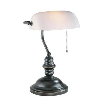 Designer Collection 14.5 in. Bronze Desk Lamp with Frost Glass Shade