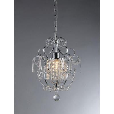 Veronica 1-Light Silver Crystal Chandelier
