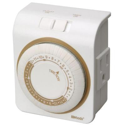 24-Hour Indoor Mechanical Lamp and Appliance Timer 3-Conductor - White