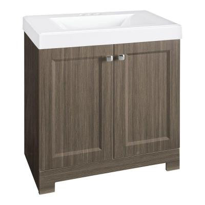 Shaila 30-1/2 in. W Vanity in Silverleaf with Cultured Marble Vanity Top in White