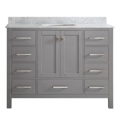 Gela 48 in. W x 22 in. D x 35 in. H Vanity in Grey with Marble Vanity Top in White with Basin