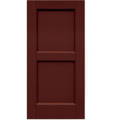 Wood Composite 15 in. x 31 in. Contemporary Flat Panel Shutters Pair #650 Board and Batten Red