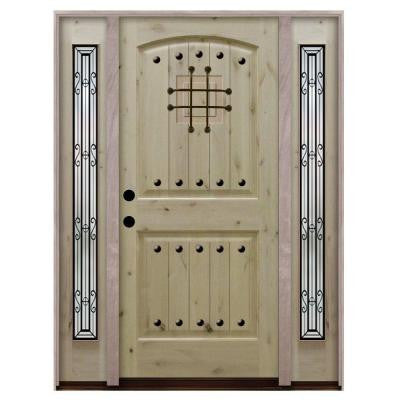 68 in. x 80 in. Rustic 2-Panel Speakeasy Unfinished Knotty Alder Wood Prehung Front Door with Sidelites