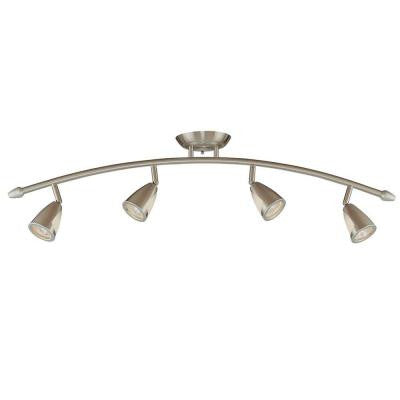 4-Light Brushed Steel Ceiling Bow Bar with Metal and Glass Shades