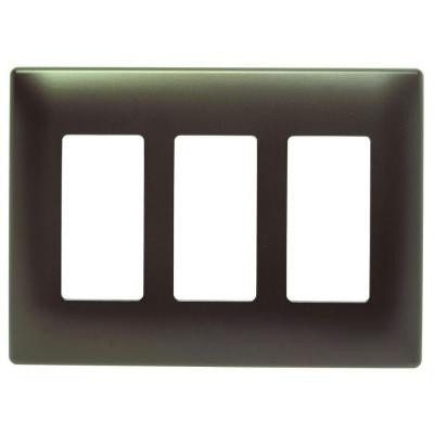 Screwless 3-Gang 3 Rocker Wall Plate - Dark Bronze