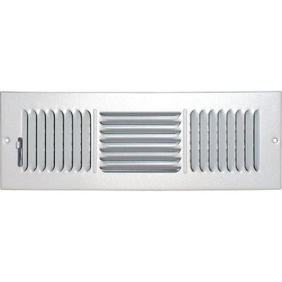 4 in. x 12 in. Ceiling/Sidewall Vent Register, White with 3-Way Deflection