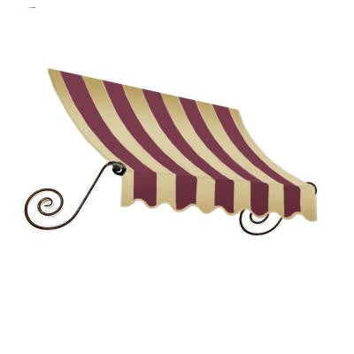12 ft. Charleston Window Awning (31 in. H x 24 in. D) in Burgundy/Tan Stripe