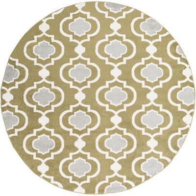 Habikino Olive 7 ft. 10 in. x 7 ft. 10 in. Round Indoor Area Rug