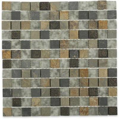 Tapestry 12 in. x 12 in. x 8 mm Marble and Glass Mosaic Floor and Wall Tile