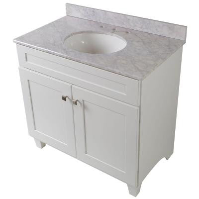 Creeley 37 in. Vanity in Classic White with Stone Effects Vanity Top in Carrera