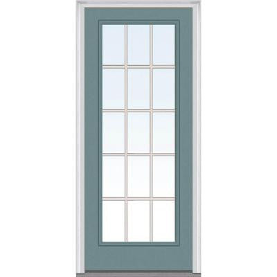 32 in. x 80 in. Classic Clear Glass GBG Full Lite Painted Builder's Choice Steel Prehung Front Door