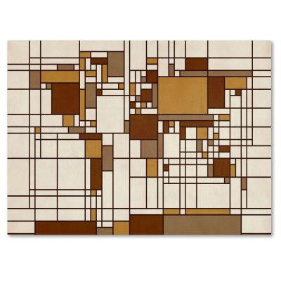 14 in. x 19 in. Mondrian World Map Canvas Art